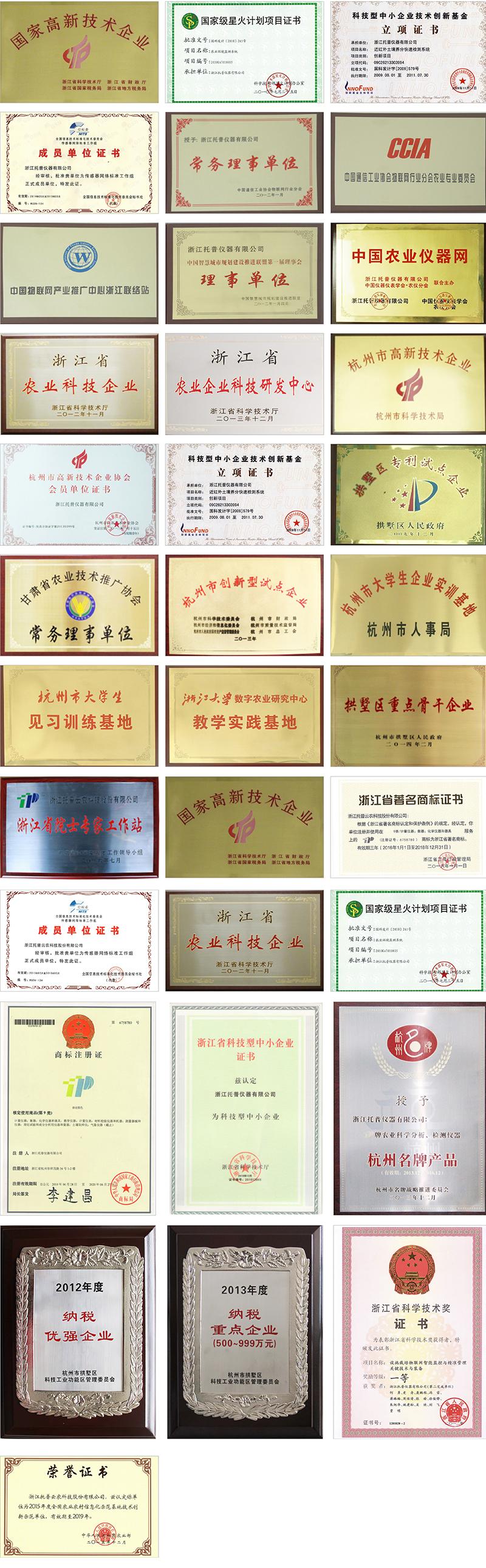 浙江新万博亚洲manbetx云农各类荣誉资质证书